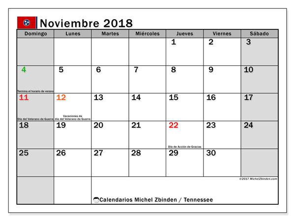 Calendario noviembre 2018, con los días feriados en Tennessee. Calendario mensual para imprimir gratis.