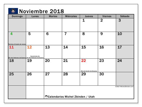 Calendario noviembre 2018, con los días feriados en Utah. Calendario para el mes para imprimir gratis.