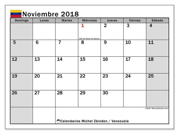 Calendario noviembre 2018, con los días feriados para Venezuela. Almanaque para imprimir gratis.