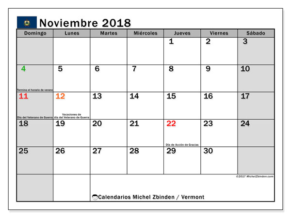 Calendario noviembre 2018, con los días feriados en Vermont. Calendario mensual para imprimir gratis.