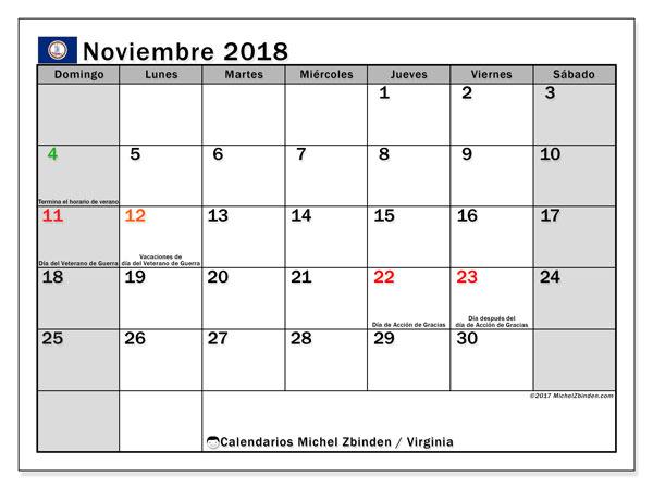 Calendario noviembre 2018, con los días feriados en Virginia. Almanaque para imprimir gratis.