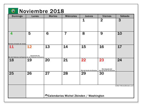 Calendario noviembre 2018, con los días feriados en Washington. Calendario para imprimir gratis.