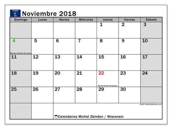 Calendario noviembre 2018, con los días feriados en Wisconsin. Calendario imprimible gratis.