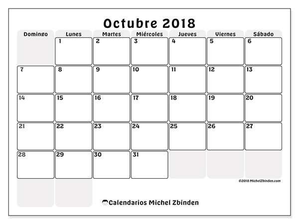 Calendario octubre 2018 (44DS). Calendario imprimible gratis.