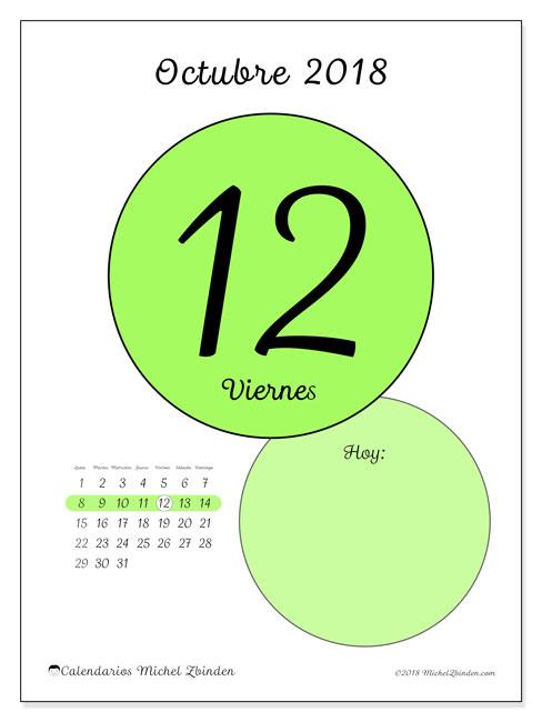 Calendario octubre 2018 (45-12LD). Calendario diario para imprimir gratis.