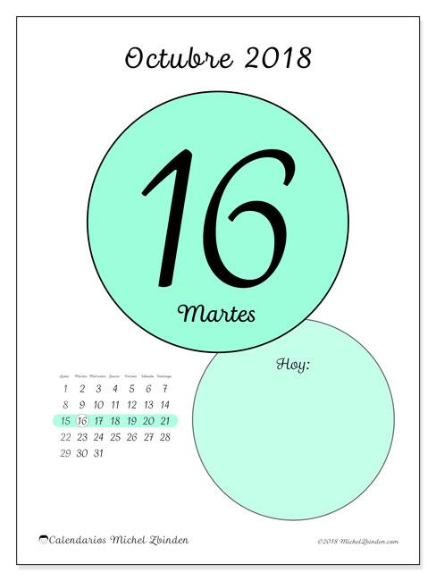 Calendario octubre 2018 (45-16LD). Calendario para el día para imprimir gratis.
