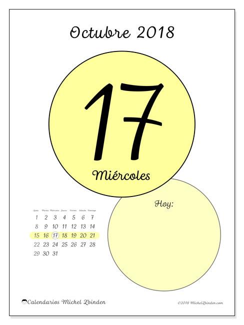 Calendario octubre 2018 (45-17LD). Calendario diario para imprimir gratis.
