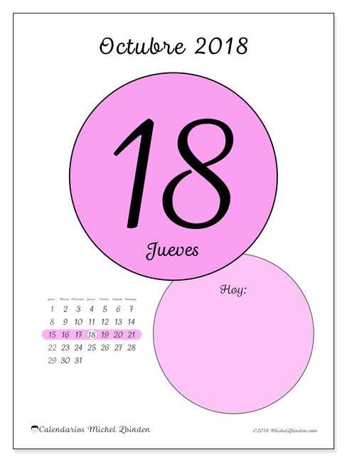 Calendario octubre 2018 (45-18LD). Calendario para el día para imprimir gratis.