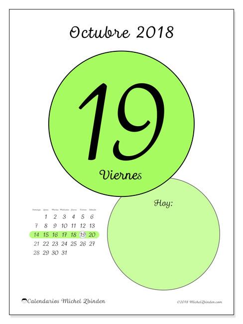 Calendario octubre 2018 (45-19DS). Calendario diario para imprimir gratis.