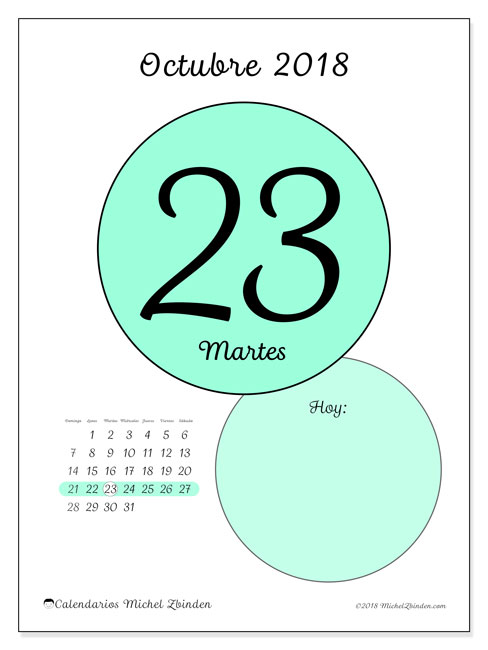 Calendario octubre 2018 (45-23DS). Calendario diario para imprimir gratis.