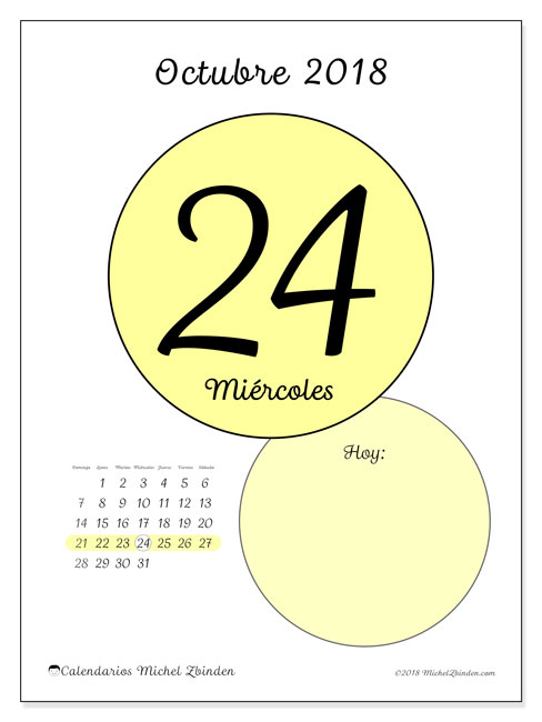 Calendario octubre 2018 (45-24DS). Calendario diario para imprimir gratis.