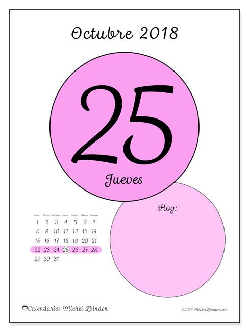 Calendario octubre 2018 (45-25LD). Calendario diario para imprimir gratis.
