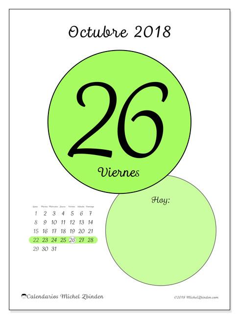 Calendario octubre 2018 (45-26LD). Calendario para el día para imprimir gratis.
