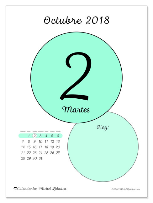 Calendario octubre 2018 (45-2DS). Calendario diario para imprimir gratis.