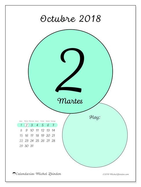 Calendario octubre 2018 (45-2LD). Calendario para el día para imprimir gratis.
