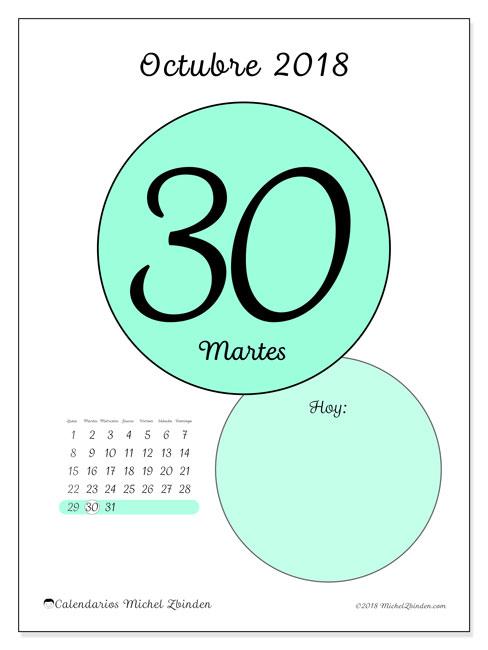 Calendario octubre 2018 (45-30LD). Calendario para el día para imprimir gratis.