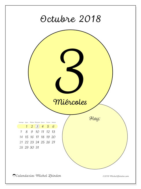 Calendario octubre 2018 (45-3DS). Calendario para el día para imprimir gratis.