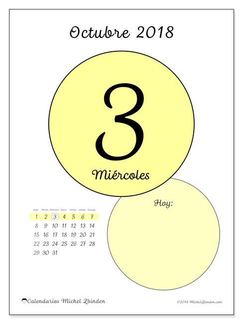 Calendario octubre 2018 (45-3LD). Calendario diario para imprimir gratis.