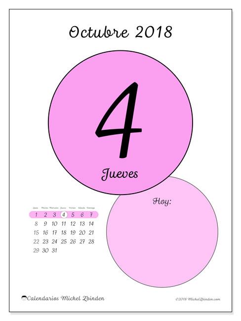 Calendario octubre 2018 (45-4LD). Calendario diario para imprimir gratis.