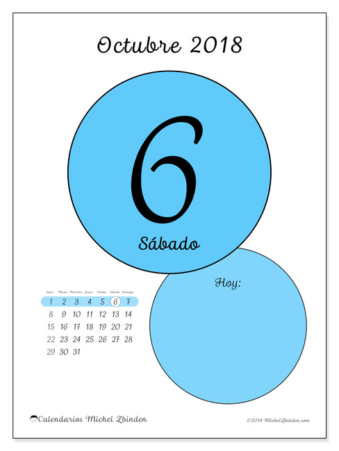 Calendario octubre 2018 (45-6LD). Calendario para el día para imprimir gratis.