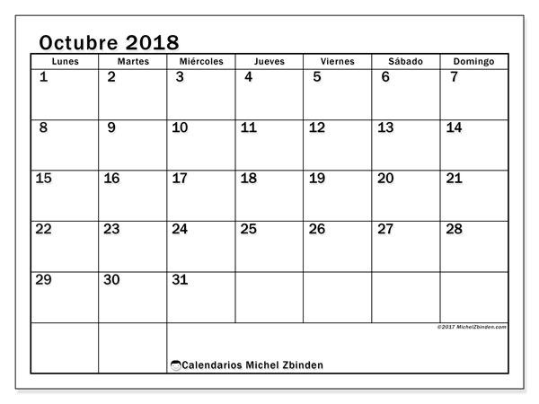 Calendario octubre 2018 (50LD). Almanaque para imprimir gratis.