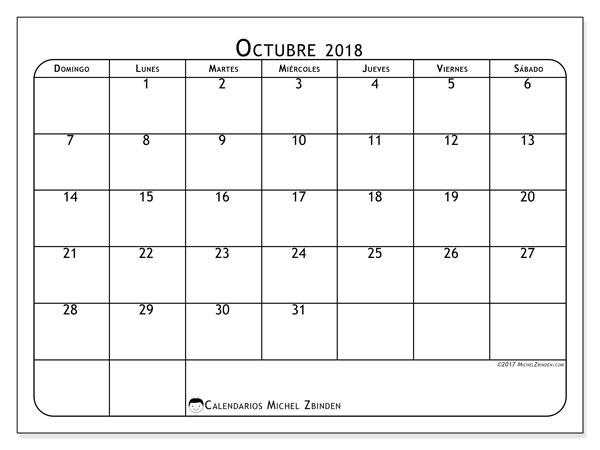 Calendario octubre 2018 (51DS). .