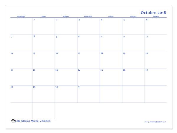 Calendario octubre 2018 (55DS). Calendario imprimible gratis.