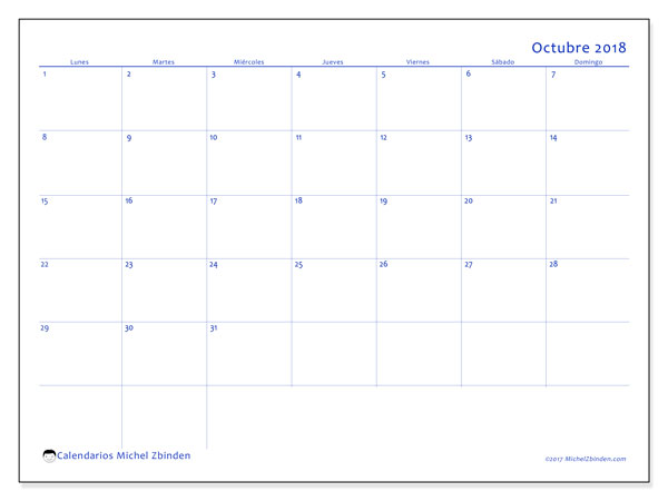Calendario octubre 2018 (55LD). Calendario para el mes para imprimir gratis.