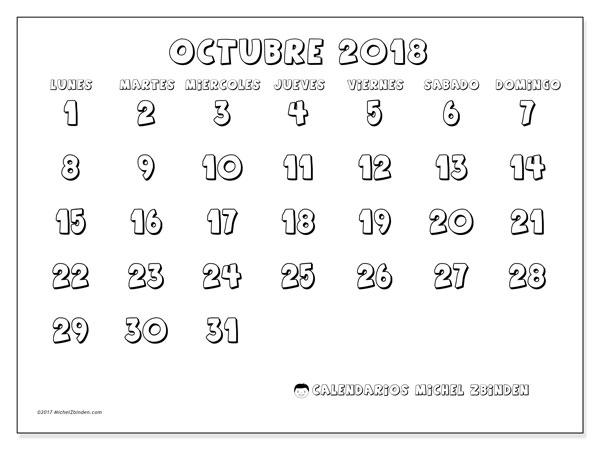 Calendario octubre 2018 (56LD). Calendario imprimible gratis.
