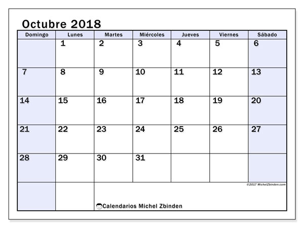 Calendario octubre 2018 (57DS). Calendario imprimible gratis.