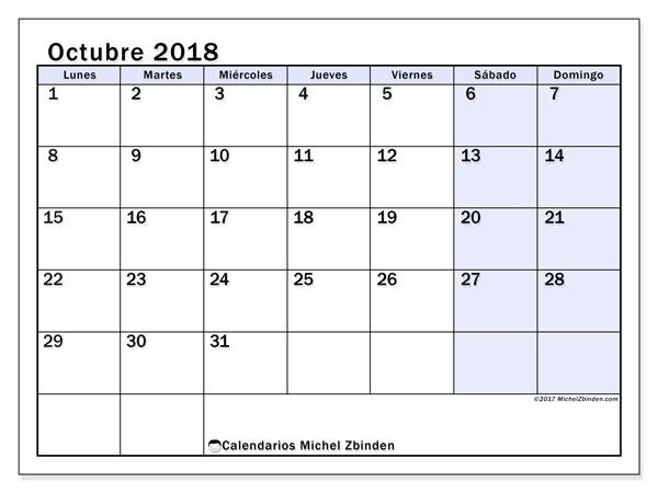 Calendario octubre 2018 (57LD). Planificación para imprimir gratis.