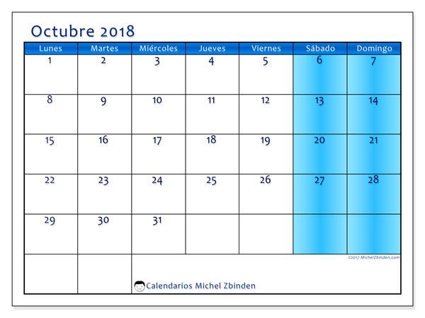 Calendario octubre 2018 (58LD). Calendario para imprimir gratis.