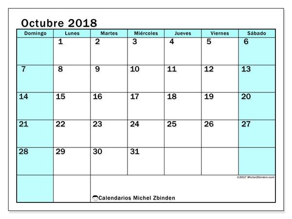 Calendario octubre 2018 (59DS). Calendario para imprimir gratis.
