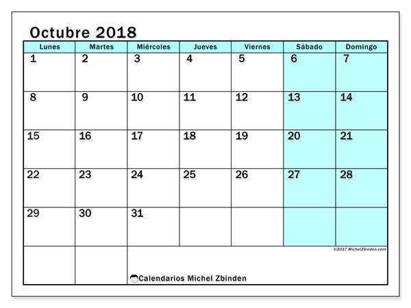 Calendario octubre 2018 (59LD). Calendario gratuito para imprimir.