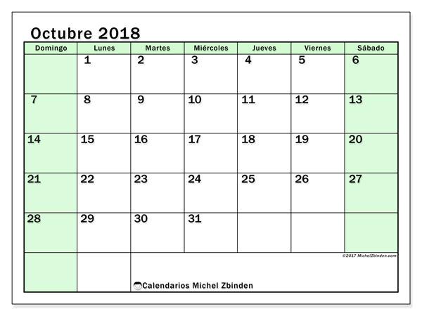 Calendario octubre 2018 (60DS). Calendario para el mes para imprimir gratis.