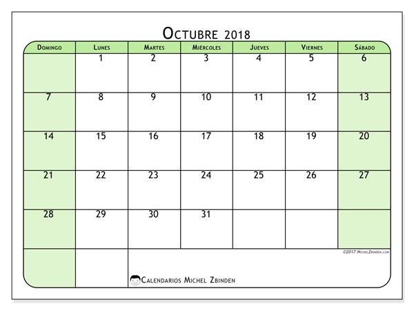 Calendario octubre 2018 (65DS). Calendario para imprimir gratis.