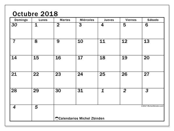 Calendario octubre 2018 (66DS). Calendario para el mes para imprimir gratis.