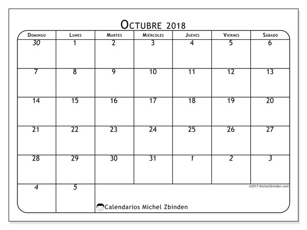 Calendario octubre 2018 (67DS). Planificación para imprimir gratis.