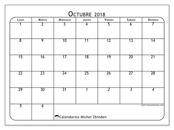 Calendario octubre 2018 (67LD). Almanaque para imprimir gratis.