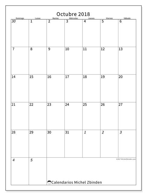 Calendario octubre 2018 (68DS). Calendario mensual para imprimir gratis.