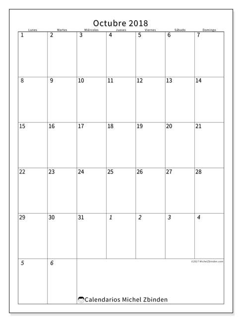 Calendario octubre 2018 (68LD). Planificación para imprimir gratis.