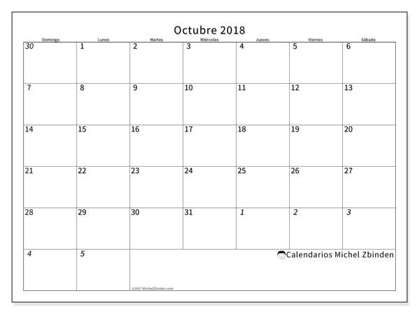 Calendario octubre 2018 (70DS). Calendario mensual para imprimir gratis.