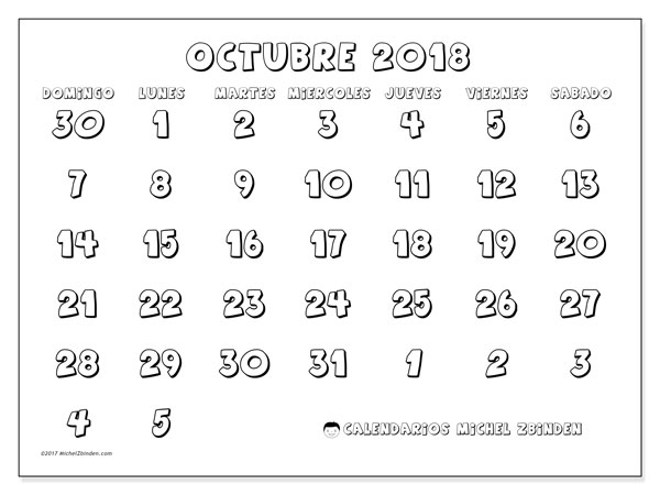 Calendario octubre 2018 (71DS). Calendario imprimible gratis.
