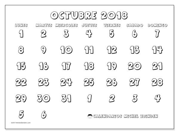 Calendario octubre 2018 (71LD). Calendario para imprimir gratis.