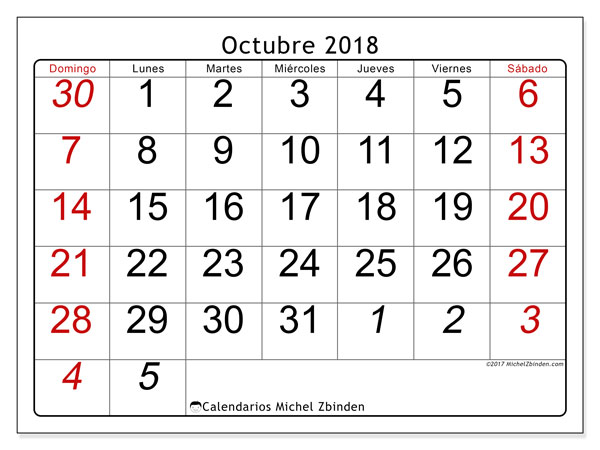 Calendario octubre 2018 (72DS). Calendario gratuito para imprimir.