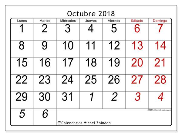 Calendario octubre 2018 (72LD). Calendario mensual para imprimir gratis.