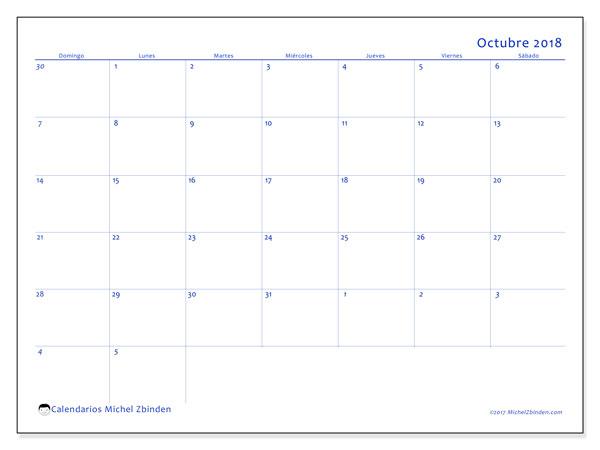 Calendario octubre 2018 (73DS). Almanaque para imprimir gratis.