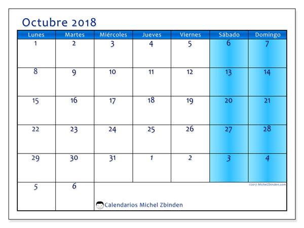 Calendario octubre 2018 (75LD). Calendario mensual para imprimir gratis.