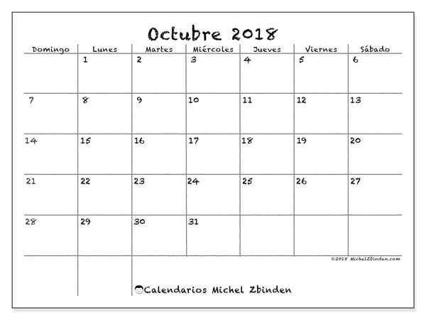 Calendario octubre 2018 (77DS). Almanaque para imprimir gratis.