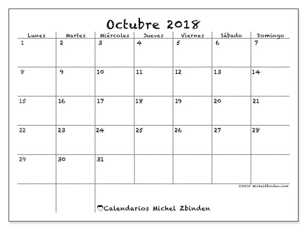 Calendario octubre 2018 (77LD). Planificación para imprimir gratis.